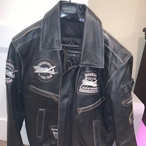 Aviator Leather Jacket Mens Large By Ocean West